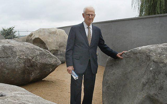 Robert Morgenthau, in 2003, in the Garden of Stones at the Museum of Jewish Heritage. Museum of Jewish Heritage