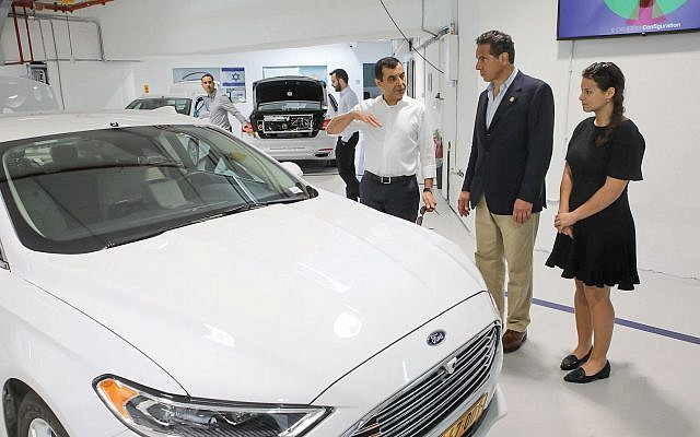 Gov. Cuomo touring the Mobileye office in Israel. He was intrigued by software that guided the driverless car. Courtesy of the Governor's Office