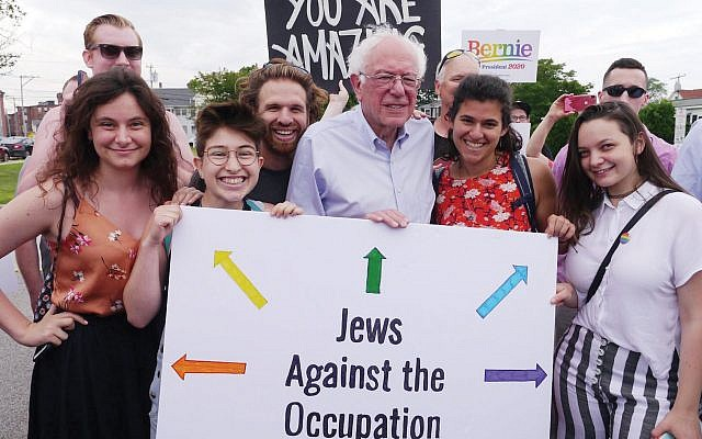 Democratic presidential candidate Bernie Sanders with IfNotNow volunteers last weekend in New Hampshire. Photo courtesy of IfNotNow