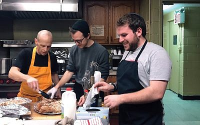 Cooking up social justice: The author, right, at All Souls Episcopal Church on St. Nicholas Avenue. Courtesy of Repair the World