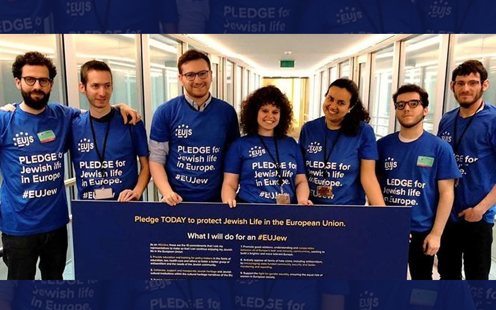 """European Union of Jewish Students recently launching the """"Pledge for Jewish Life,"""" a set of actions they urge their EU representatives to take to protect Jewish life in Europe. Courtesy of the EUJS"""