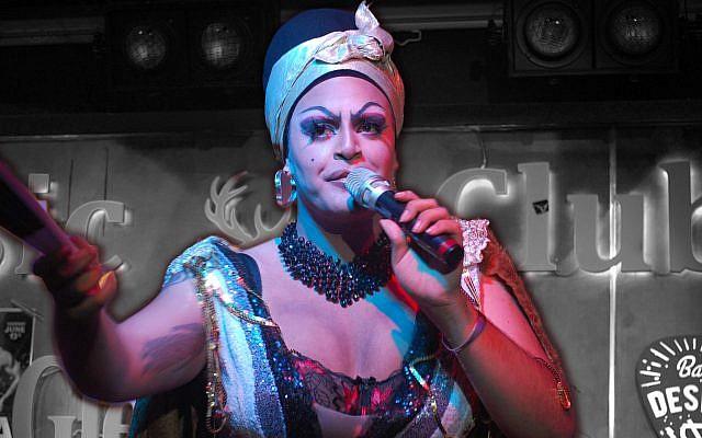 Mama De La Smallah performs at a 2019 Tel Aviv Pride event for her drag house, WERK, at the Desire Club in South Tel Aviv. (Laura E. Adkins via JTA)