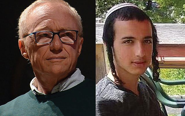 "David Grossman, left, eulogizing terrorism victim Dvir Sorek, said the 19-year-old soldier-yeshiva student was ""an artist in his soul."" Wikimedia Commons"