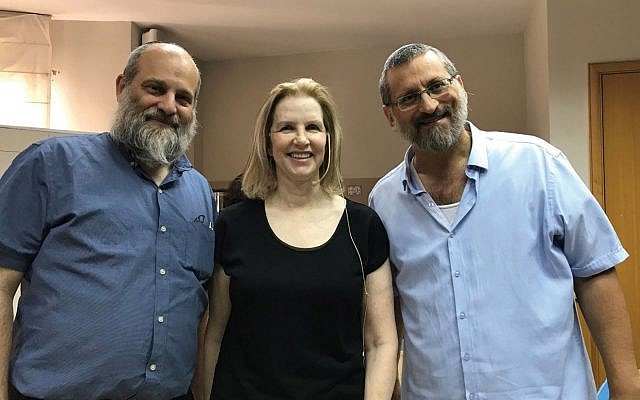 The author, right, with Professor Ari Zivotofsky, left, and Professor Marylene Cloitre, all of whom took part in the Yazidi workshops. Courtesy Bar-Ilan University