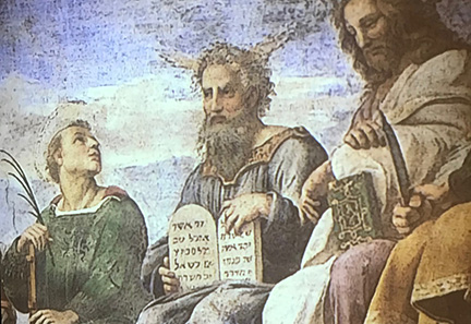 Coexistence in art: An exhibit at the national Museum of Italian Judaism and the Shoah in Ferrara displayed paintings by masters of the time that showed Jews and Christians together, like this painting of Moses seated next to Jesus.