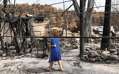 """The blaze at Mevo Modi'in destroyed at least 40 out of the community's 50 homes. """"The air was sweeter there,"""" says Neshama Carlebach. """"The wind was softer there."""" Sam Sokol/JTA"""