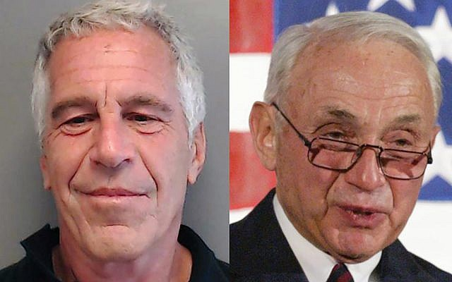 (L) Handout photo provided by the Florida Department of Law Enforcement of Jeffrey Epstein, and (R) Leslie Wexner. Getty Images/Wikimedia Commons