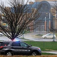 A police vehicle near the location of a 2014 shooting at the JCC in Overland Park, Kan. Getty Images via JTA