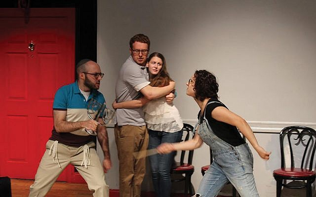 """Scene from the sketch comedy piece about N.Y. millennials, """"God Should Not Have Chosen Us."""" coltcoeur.org"""