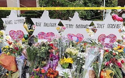 A memorial for the victims of the Tree of Life synagogue shooting in Pittsburgh. JTA