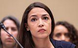 Alexandria Ocasio-Cortez at a House Oversight and Reform Committee hearing, July 12, 2019. (Aurora Samperio/NurPhoto via Getty Images/via JTA)