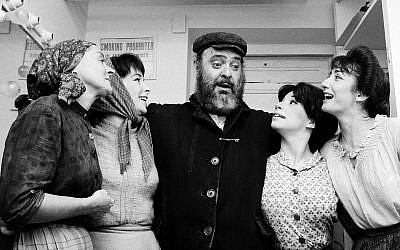 """From left: Maria-Karnilova, Tanya Everett, Zero Mostel, Julia-Migenes and Joanna Merlin backstage at opening night of """"Fiddler on the Roof"""" at the Imperial Theater in New York City, Sept. 22, 1964. (AP/Courtesy of Roadside Attractions and Samuel Goldwyn Films/via JTA)"""