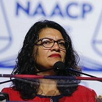 Rep. Rashida Tlaib speaks at the NAACP convention in Detroit, July 22, 2019. (Bill Pugliano/Getty Images/via JTA)