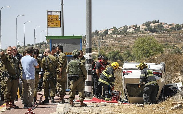 The scene of a car-ramming attack in the West Bank settlement of Elazar, Aug. 16, 2019. (Gershon Elinson/Flash90/via JTA)