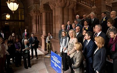Team USA volleyball player Sarah Powers-Barnhard speaks in support of the Child Victims Act on March 14, 2018 at the New York State Capitol in Albany, New York.  Getty Images