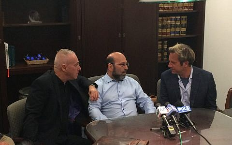 (L-R) Barry Singer, Jay Goldberg, David Bressler three of the plaintiffs in the suit against Yeshiva University at the press conference today. Hannah Dreyfus/JW
