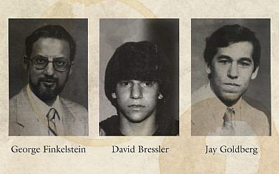 Old photos of (L-R) George Finkelstein, David Bressler and Jay Goldberg. Bressler and Goldberg are two of the plaintiffs in the suit against YU who claim that Finkelstein abused students while he was a principal at the flagship Modern Orthodox institution's high school. Photos Courtesy/JW Collage