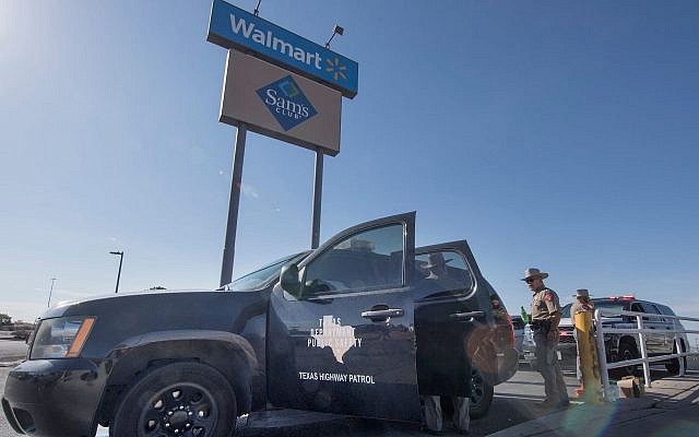 Texas State Troopers keep watch outside the Cielo Vista Mall Wal-Mart where a shooting left 20 people dead in El Paso, Tex., on Aug. 4, 2019. (Mark Ralston/AFP/Getty Images/via JTA)