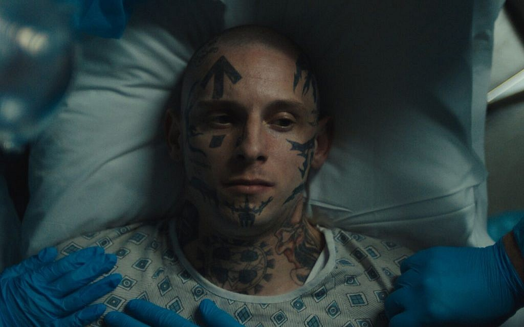 """Jamie Bell as reformed skinhead Bryon Widner in the feature film """"Skin."""" Courtesy of A24 Films"""