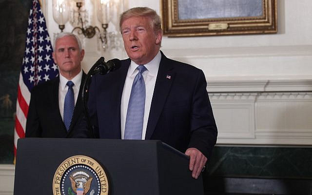 President Donald Trump makes remarks about the mass shootings in El Paso and Dayton at the White House as Vice President Mike Pence looks on, Aug. 5, 2019. (Alex Wong/Getty Images/via JTA)