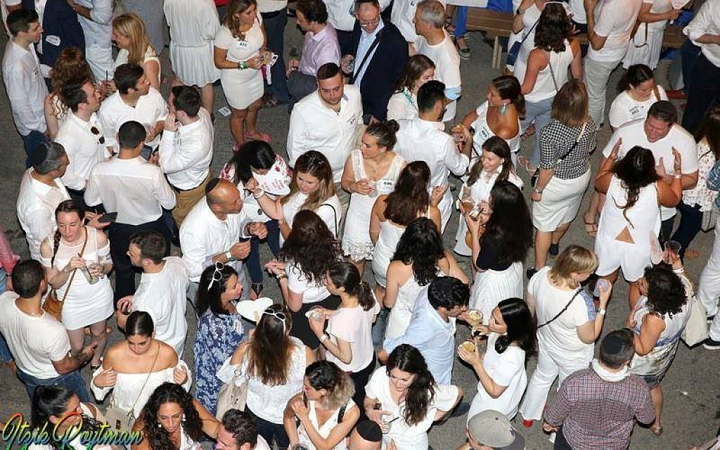 Birds-eye view of the scene at a previous Tu B'av white party hosted by Bangitout.com. Courtesy