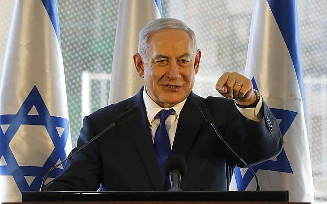 Prime Minister Benjamin Netanyahu delivers a speech in Hebron during an event marking the anniversary of the 1929 Hebron riots on September 4, 2019. (MENAHEM KAHANA / AFP / via Times of Israel)
