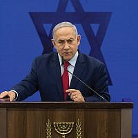 Israeli Prime Minister Benjamin Netanyahu at a news conference Tuesday as he vowed to annex the Jordan Valley should he win Tuesday's election. Getty Images