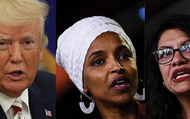 President Trump has railed against some of the anti-Semitic and anti-Israel comments made by Reps. Ilhan Omar, center, and Rashida Tlaib, hoping to make them the face of the Democratic Party.