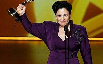 Alex Borstein accepts the best supporting actress in a comedy series award for 'The Marvelous Mrs. Maisel' at the 71st Emmy Awards in Los Angeles, Sept. 22, 2019. (Kevin Winter/Getty Images/via JTA)