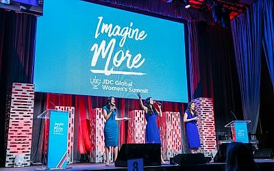 L-R: Cantors Rachel Goldman, Laurie Aiken and Rachel Brook perform at 'Imagine More,' the JD's first-ever global women's summit. The sold-out event was held on September 18th at NYC's Zeigfeld Theater. Courtesy of Michael Priest Photography