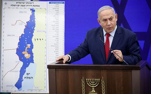 Israeli Prime Minister Benjamin Netanyahu announces that if he is re-elected, he will make the Jordan Valley a sovereign part of Israel, Sept. 10, 2019. (Hadas Parush/Flash90/via JTA)