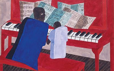 """Edith Halpert promoted the work of Jacob Lawrence, whose """"The Music Lesson"""" is shown here. Artwork © The Jacob and Gwendolyn Knight Lawrence Foundation, Seattle / Artists Rights Society (ARS), New York"""