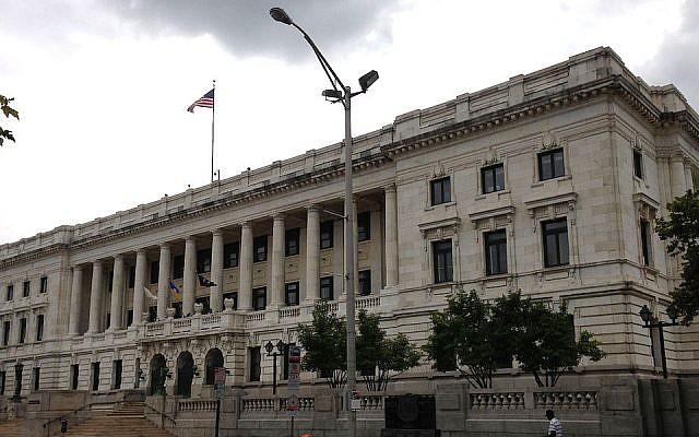 A view of Trenton, N.J.'s city hall in 2014. (Famartin/Wikimedia Commons/via JTA)