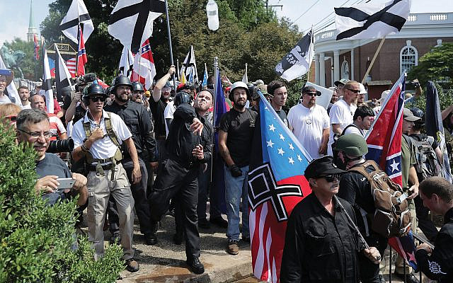 White nationalists on the march in Charlottesville, Va., in 2017. Since then, killings linked to white supremacists have spiked, and the Department of Homeland Security is now focusing on the threat. Getty Images