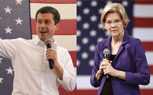 Getting tough on Israel on the stump: Pete Buttigieg and Elizabeth Warren are suggesting that U.S. aid to Israel could be in play. Photos by Getty Images