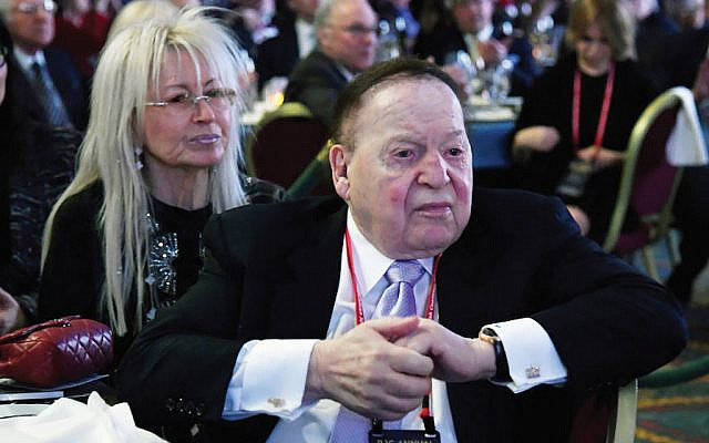 Sheldon Adelson with his wife, Miriam, at the Republican Jewish Coalition's annual leadership meeting, in February 2017, at The Venetian Las Vegas. (Getty Images)