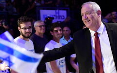 Blue and White leader Benny Gantz attends a party rally in Tel Aviv two days before Israeli elections, Sept. 15, 2019. (Tomer Neuberg/Flash90)