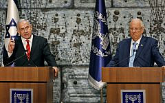 Israeli Prime Minister Benjamin Netanyahu speaks after being tasked by President Reuven Rivlin (R) with forming a new government, during a press conference in Jerusalem on September 25, 2019. Getty Images