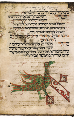 The opening text of the 'Sabbath of Shekels' on this page from a festival prayer book playfully incorporates a brightly colored bird; probably Colmar, Upper Rhineland, Holy Roman Empire, first half 14th century; ink on parchment. (The Colmar Treasure/Met Cloisters, New York)