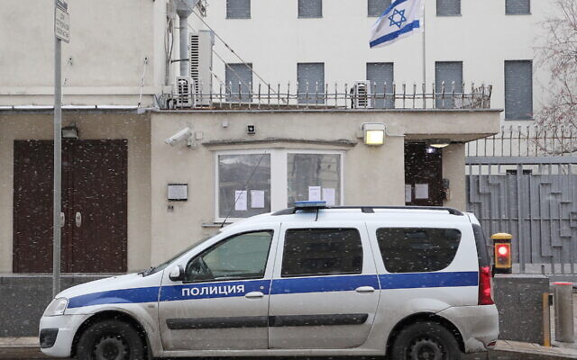 A police car sits outside the shuttered embassy of Israel in Moscow, Oct. 30, 2019. (Gavriil Grigorov/Getty Images)