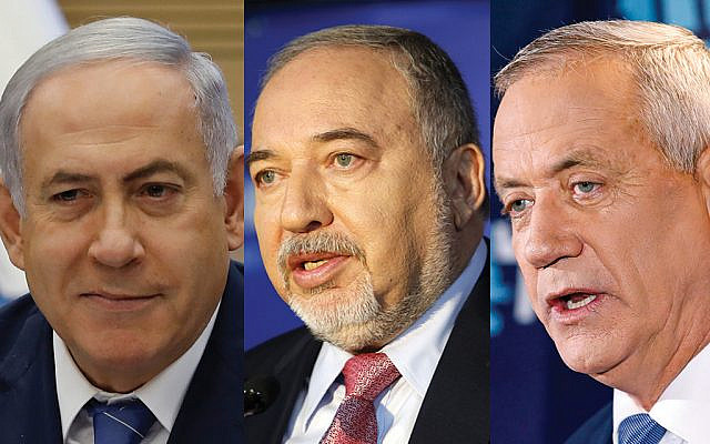 Prime Minister Benjamin Netanyahu, Yisrael Beiteinu's Avigdor Lieberman and Blue and White's Benny Gantz: Can they hammer out a unity government? Photos by Getty Images