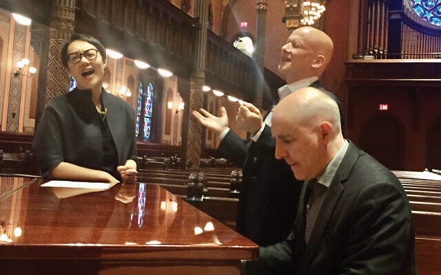 Central Synagogue's Rabbi Angela Buchdahl, Cantor Dan Mutlu and music director Dave Strickland rehearse for Carnegie Hall gig. Courtesy of Central Synagogue