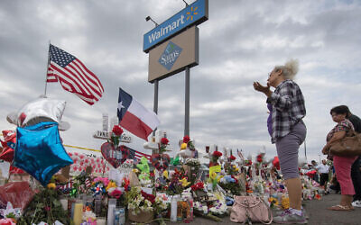 "The now-closed Walmart in El Paso, Texas, where 22 people were murdered in August. The attack, writes the author, ""was a violent act"" targeting the ""Hispanic and immigrant communities."" Getty Images"