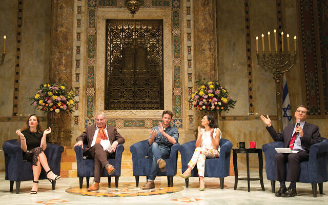 """""""Shtisel"""" cast members Neta Riskin, Doval'e Glickman and Michael Aloni, and the show's producer Dikla Barkai, moderated by Ethan Bronner"""
