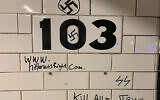 Recent anti-Semitic graffiti at the 103rd Street station on the 1 train line.  Courtesy of JCRC