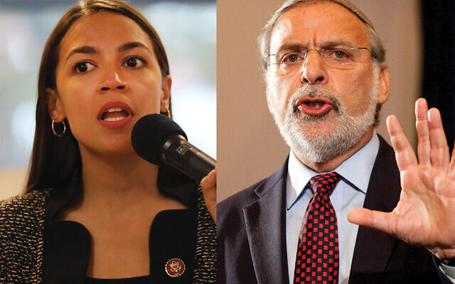 Alexandria Ocasio-Cortez and Dov Hikind. Getty images