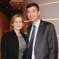 Jewish Week board secretary Allison Hoffman and Temple Emanu-Ell Rabbi Joshua Davidson.