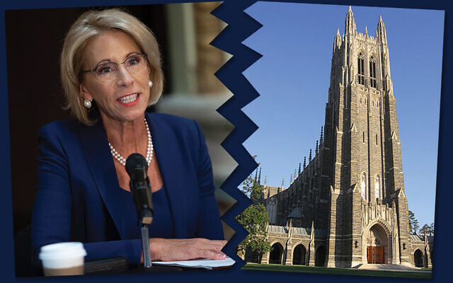 Education Secretary Betsy DeVos, above, and Duke's University Chapel, right: A battle of perceived bias. Photos by Getty Images /Photo illustration by Janice Hwang / JW