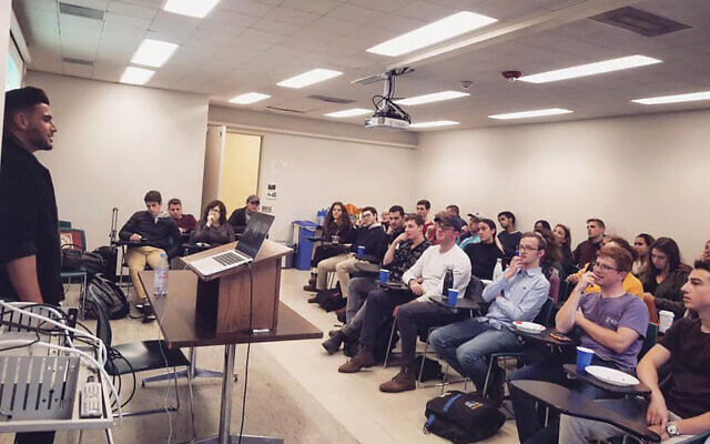Pro-Israel activist Rudy Rochman addressing a Cornell University class. Rudy Rochman Facebook page