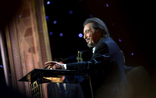 "Al Pacino accepts the Hollywood Supporting Actor Award onstage during the 23rd Annual Hollywood Film Awards at The Beverly Hilton Hotel on November 03, 2019 in Beverly Hills, California. He plays a Nazi-hunter in Jordan Peele's Amazon Prime series, ""Hunters."" Getty Images"